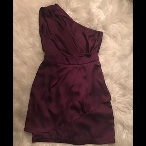 BCBG generation boysenberry one shoulder dress 6